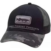 SIMMS Кепка Musky Icon Trucker #Hex Flo Camo Carbon